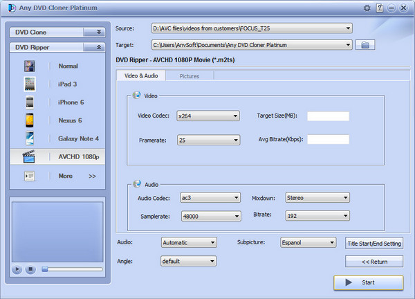 Any DVD Cloner Platinum Settings